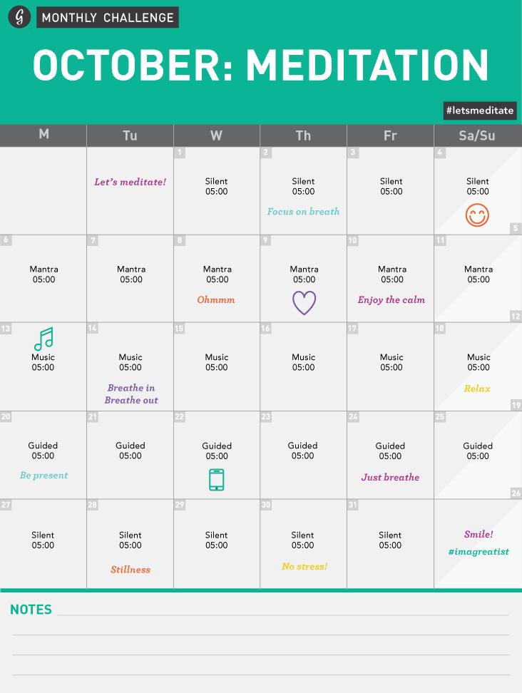 Meditation Challenge Calendar