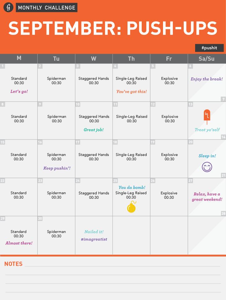 Monthly Challenge Push-Ups Calendar