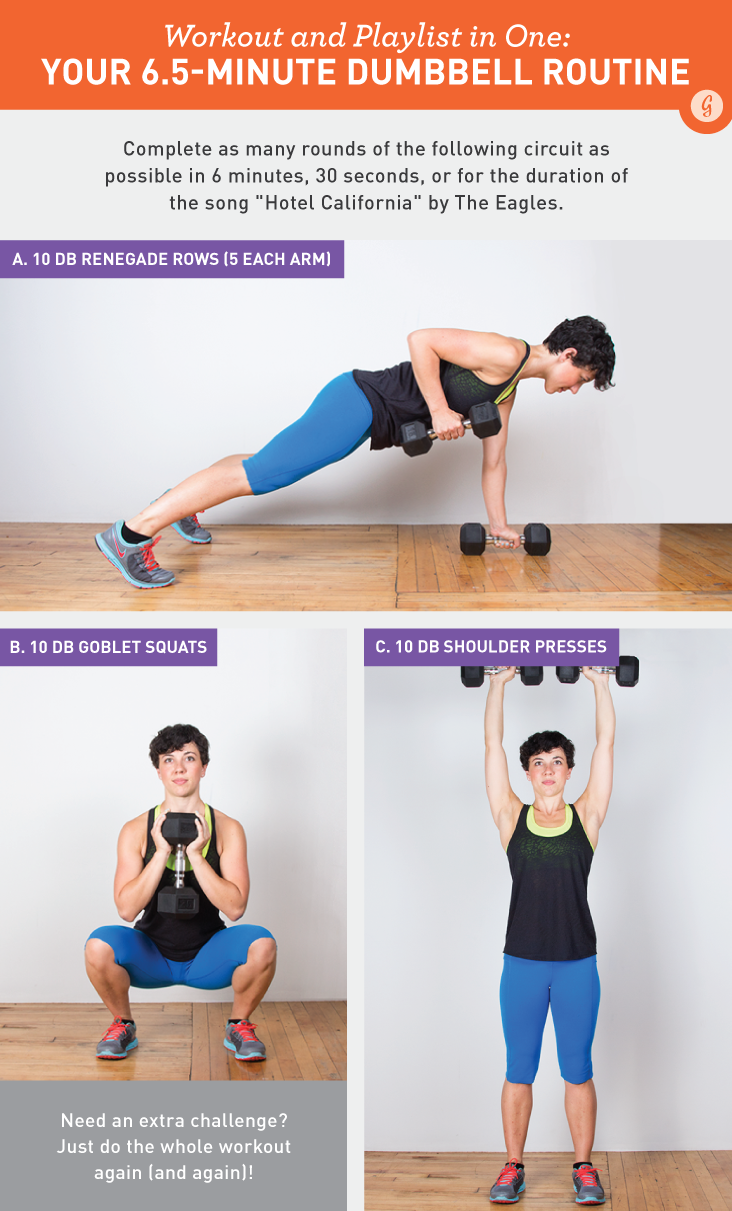 Workout and Playlist In One: Your 6.5 Minute Dumbbell Routine