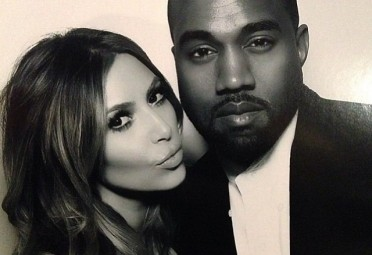 Kim and Kanye pose for a black and white selfie, image courtesy of Kanye West's Instagram
