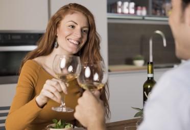 Redhead Woman Drinking Wine