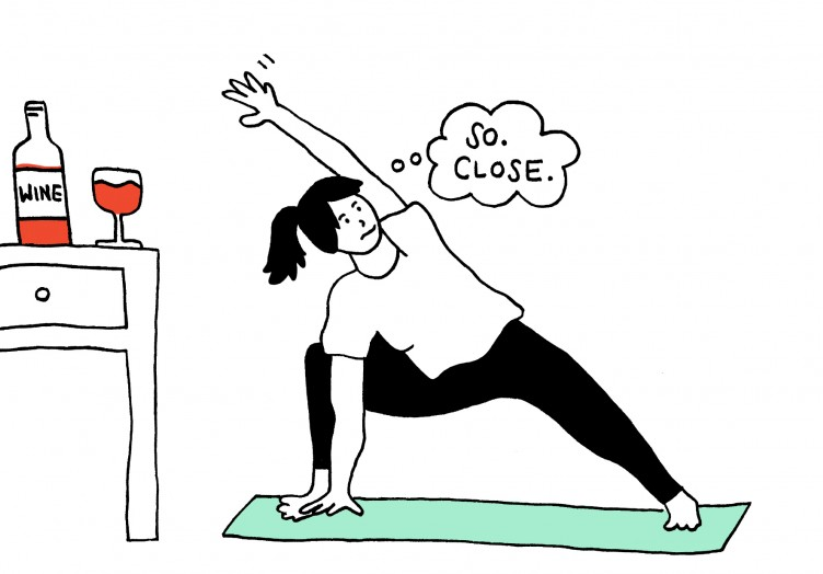 Extended Side Angle Pose With Wine