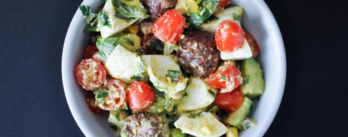 Sausage, Egg, and Avocado Breakfast Salad