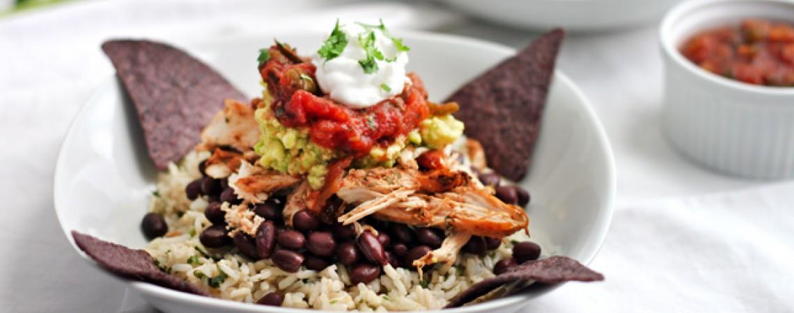 Healthy Shredded Chicken Burrito Bowl