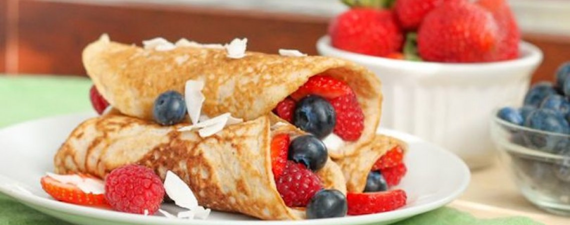 Paleo Coconut Crêpes With Mixed Berries