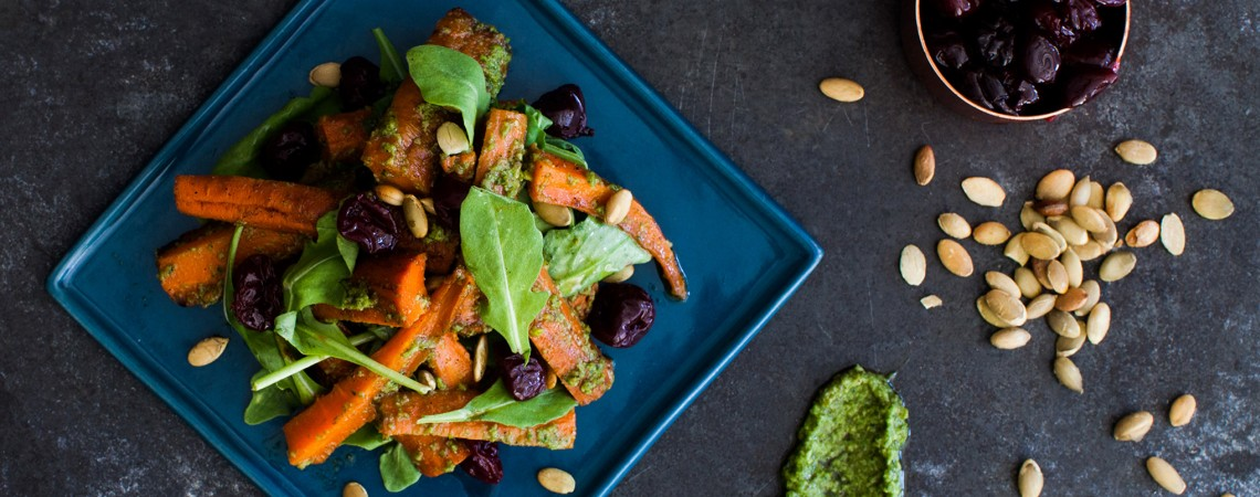 Roasted Carrots With Kale-Pumpkin Seed Pesto