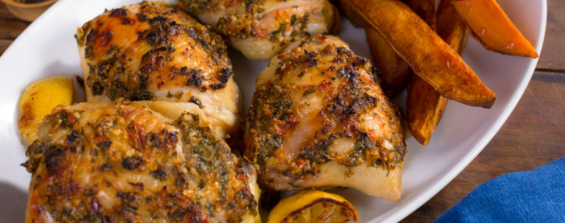 Roasted Lemon Chicken With Cinnamon Sweet Potatoes