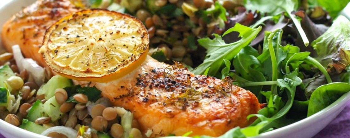 Lemony Salmon With Dill Lentil Pilaf
