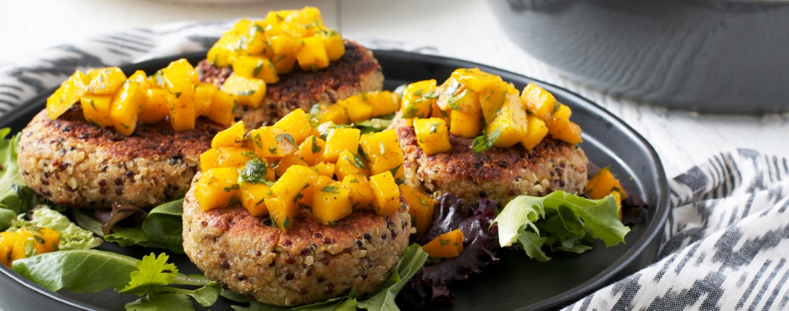 Quinoa Burgers With Mango Curry Relish
