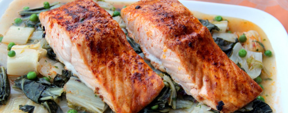 Salmon and bok choy recipe greatist easy roasted salmon and bok choy ccuart Choice Image