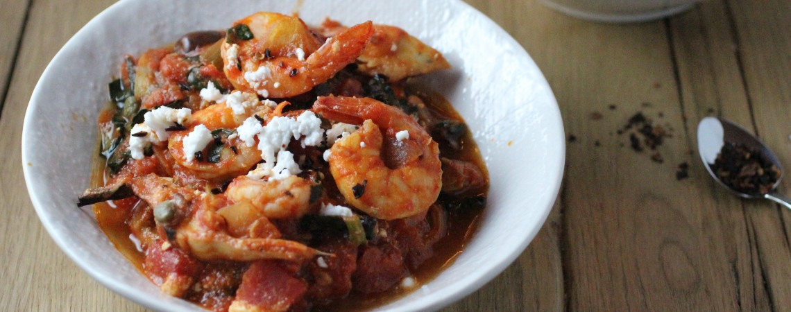 Shrimp Puttanesca Over Zucchini Pasta