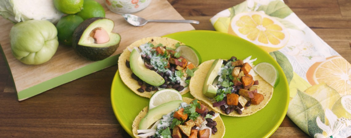 Spicy Sweet Potato and Black Bean Tacos With Lime-Cilantro Yogurt