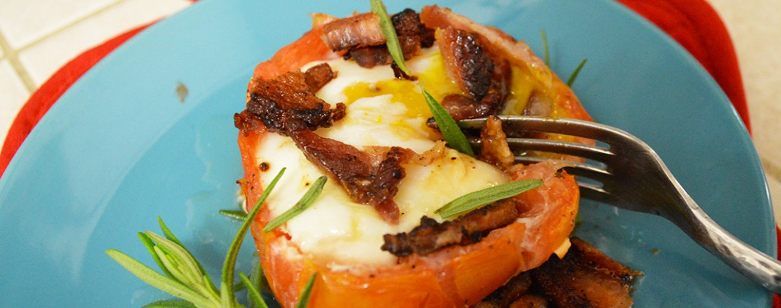 Paleo Stuffed Bacon and Egg Tomato Cups