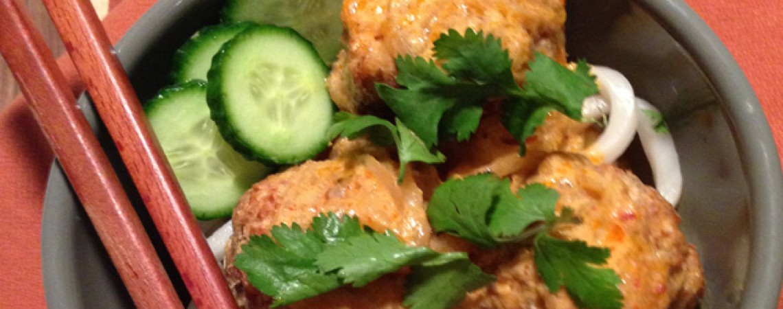 Lemongrass Turkey Meatballs With Red Curry Coconut Sauce