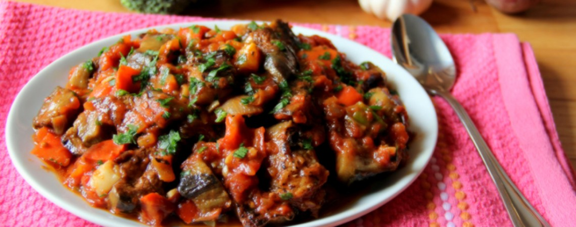 Eggplant and Bell Pepper Salad