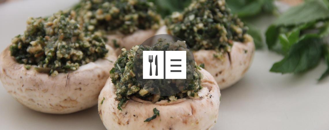 Pesto-Stuffed Cremini Mushrooms