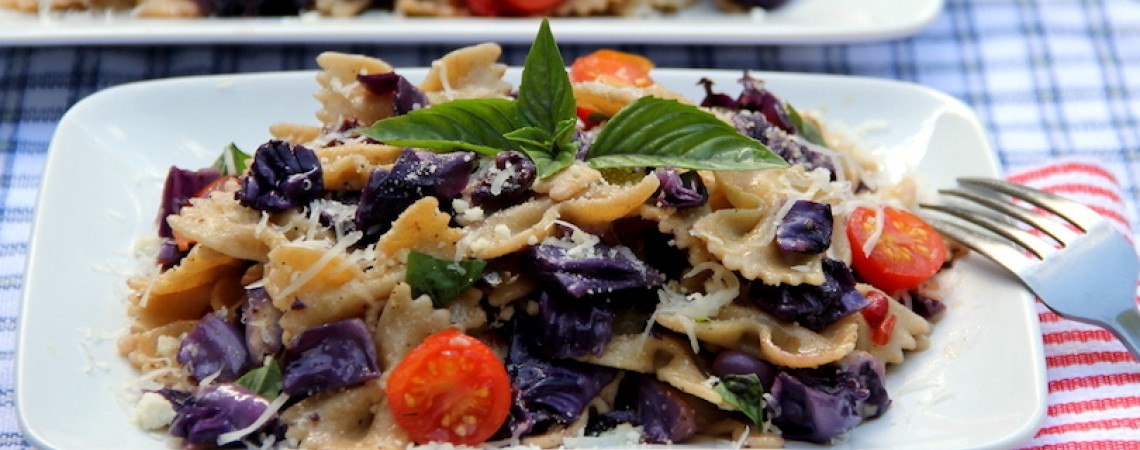 Whole-Wheat Farfalle With Cabbage and Pepper