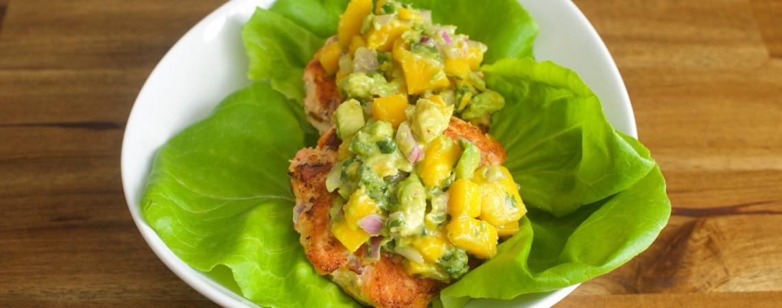 Salmon Burgers With Mango and Avocado Salsa