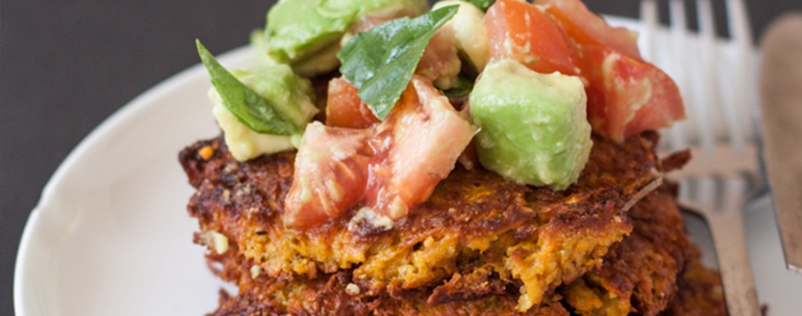 Easy (and Gorgeous!) Sweet Potato Fritters With Avocado Salsa