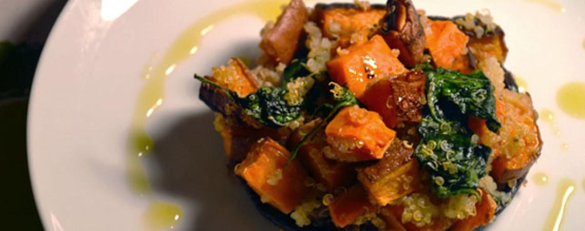 Quinoa and Sweet Potato Stuffed Mushrooms
