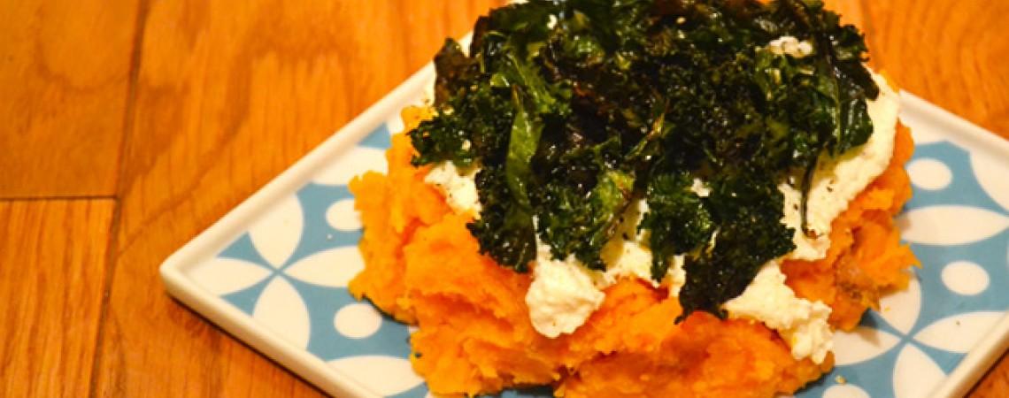Sweet Potato, Ricotta, and Crispy Kale Casserole