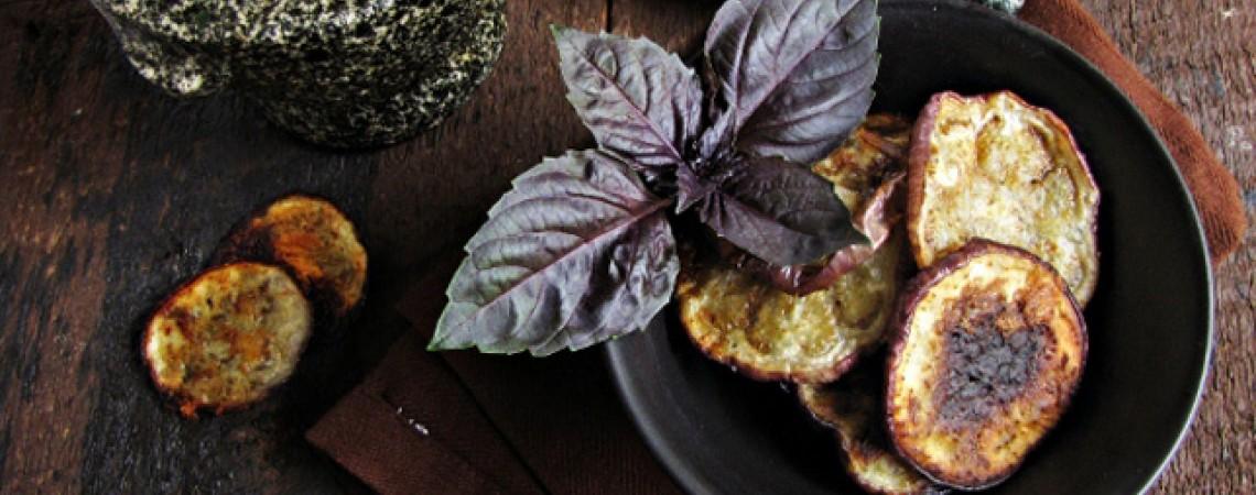 Eggplant Chips With Basil Yogurt Dip