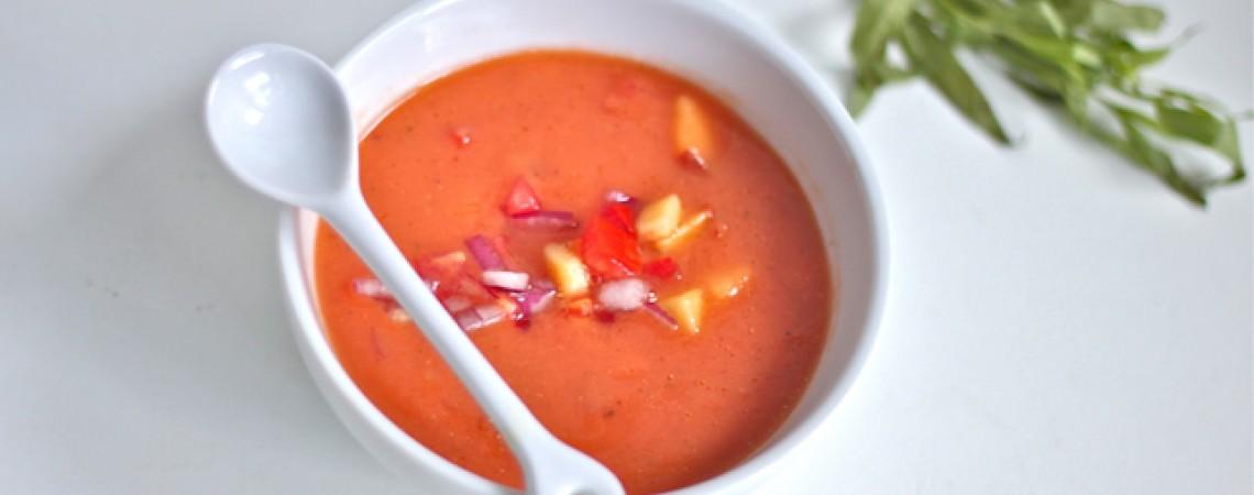 Tomato and Peach Gazpacho