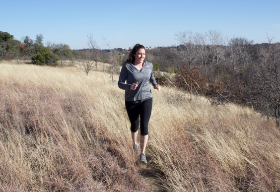 The author, Amanda, going for a run.