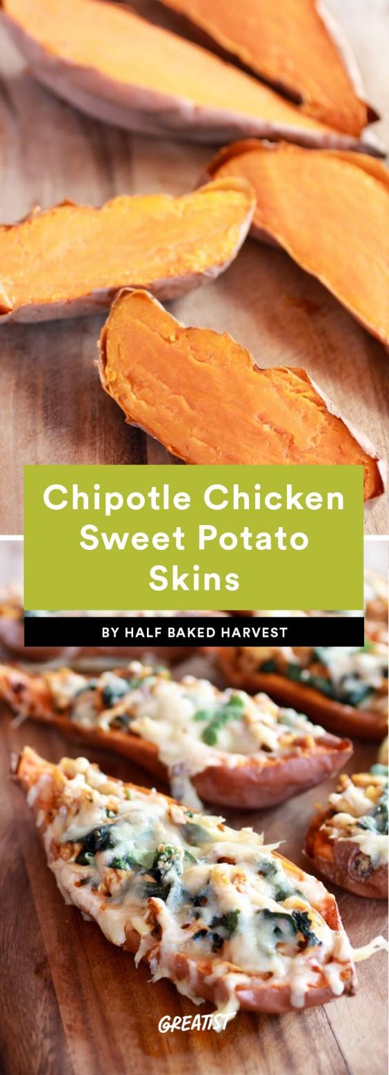 Chipotle Chicken Sweet Potato Skins