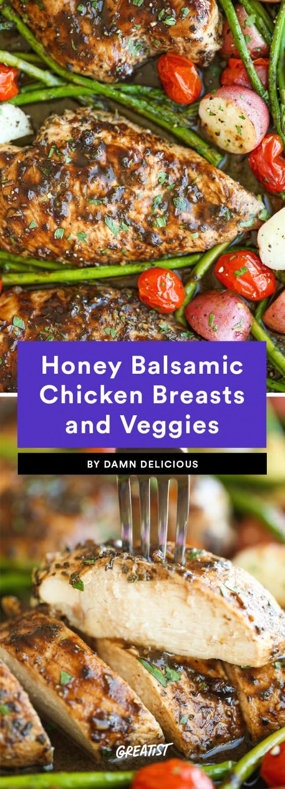Honey Balsamic Chicken Breasts and Veggies