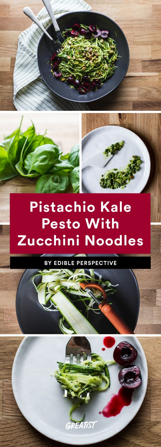 Pistachio Kale Pesto With Zucchini Noodles and Cherries