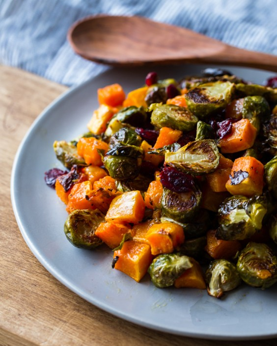 Roasted Brussels Sprouts and Squash With Dried Cranberries and Dijon Vinaigrette