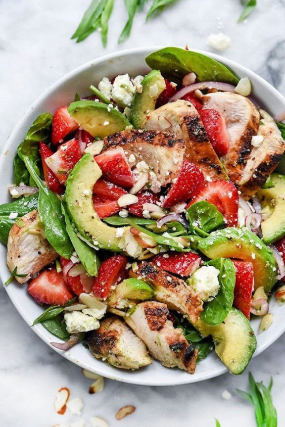 Strawberry, Avocado, and Chicken Spinach Salad