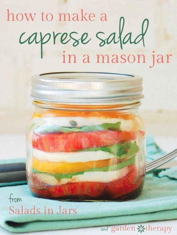 Healthy Lunch Ideas: Caprese salad in a jar