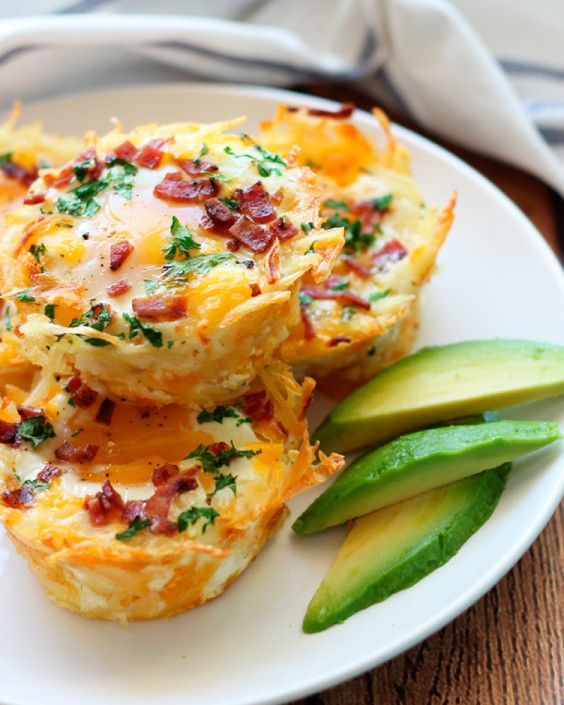 Baked Eggs Recipes: Hash Brown Egg Nests With Avocado by The Cooking Jar