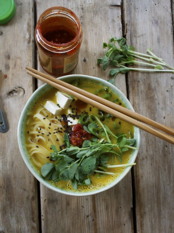 10. Butternut Squash Ramen Bowl With Rice Noodles, Tofu, and Fresh Pea Shoots