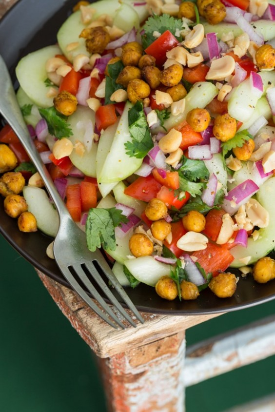 Thai-Inspired Hydrating Cucumber Salad With Roasted Spiced Chickpeas