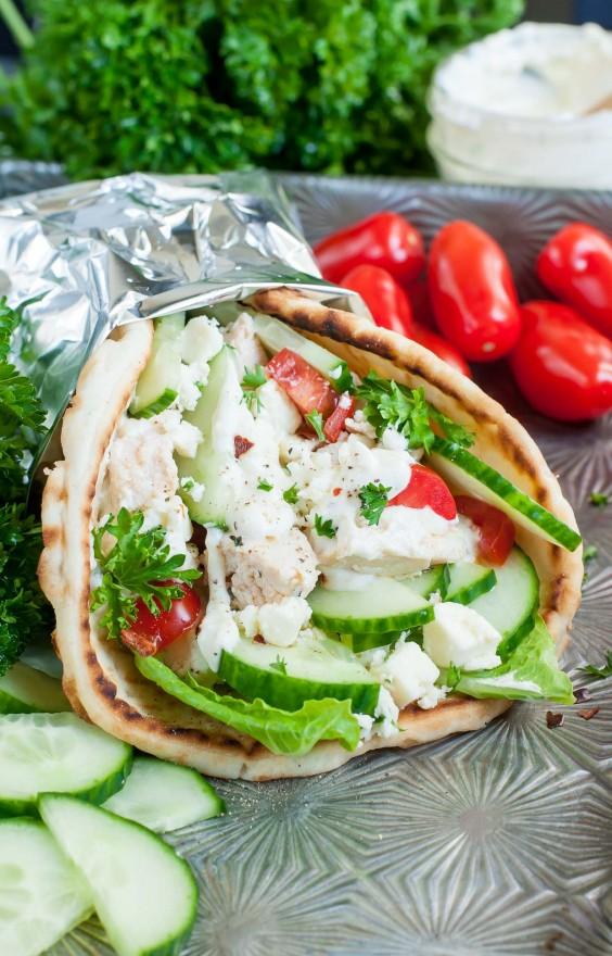 Chicken Gyros With Greek Feta Sauce