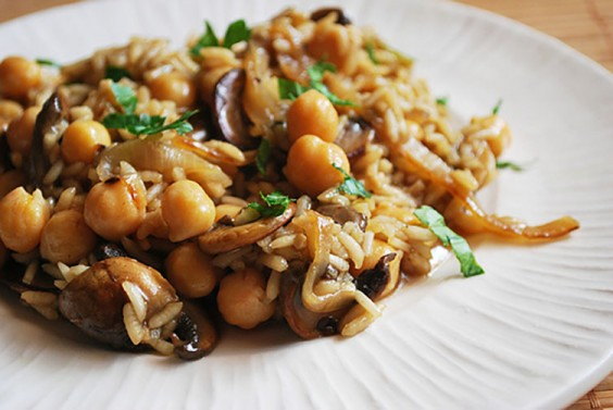Risotto with Caramelized Onion Chickpeas