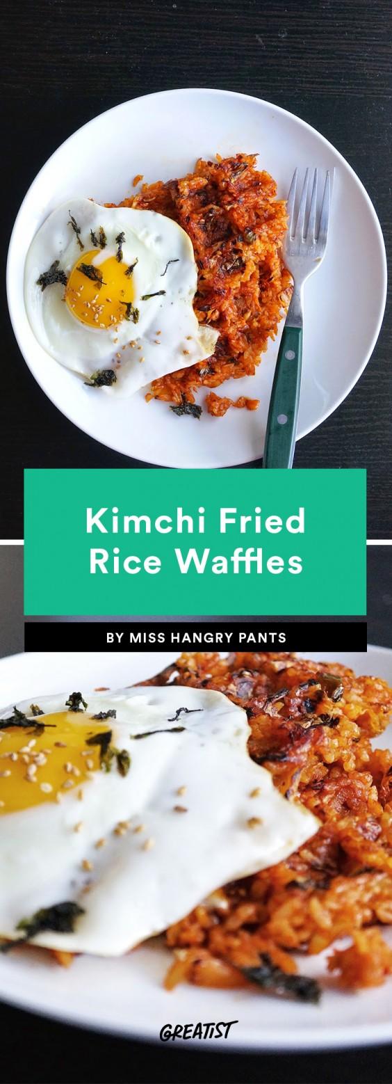 Kimchi Fried Rice Waffles