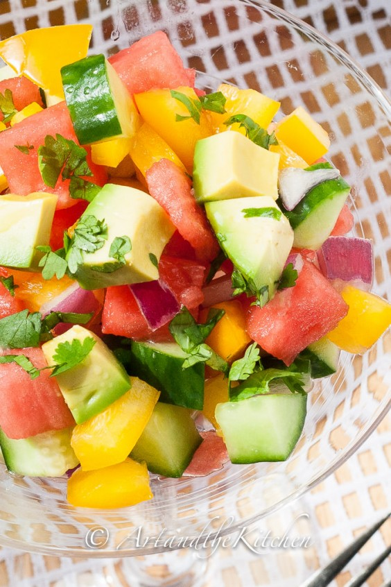 11. Cucumber Watermelon Salad With Avocado and Bell Pepper