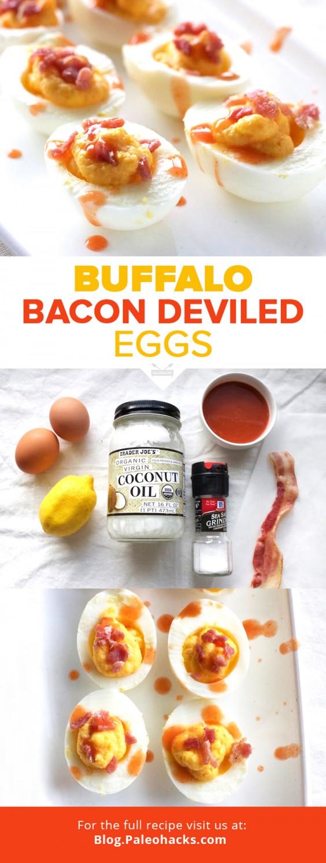 Paleo Recipes: Buffalo Bacon Deviled Eggs by PaleoHacks