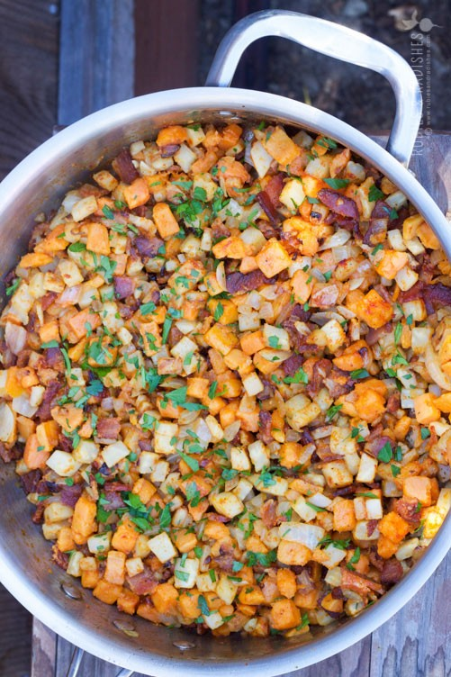 Yam, Celery, Root, and Bacon Hash