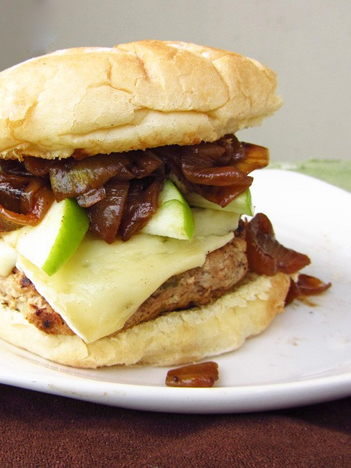 Apple Turkey Burgers With Caramelized Onions and Brie