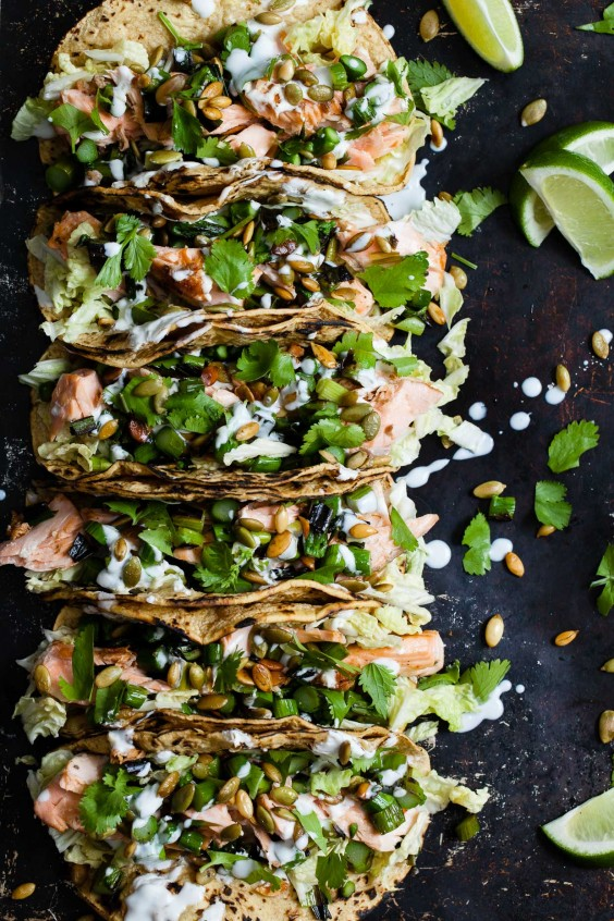 Greens Recipe: Salmon Tacos With Green Onion and Asparagus Salsa