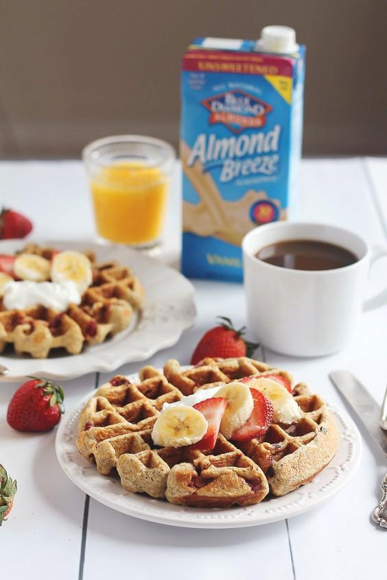 strawberry banana oatmeal greek yogurt waffles