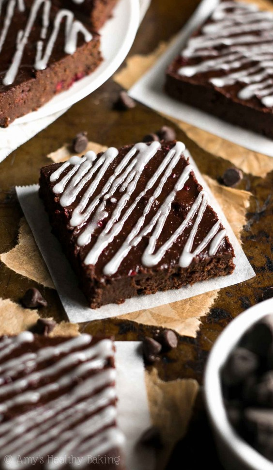 Fudge-y Dark Chocolate Raspberry Brownies