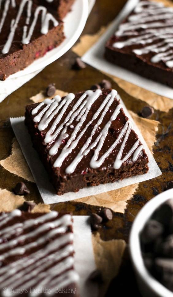 Fudge-y Dark Chocolate Raspberry Brownies