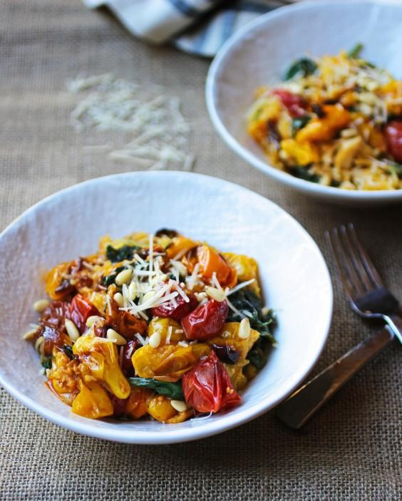 Spaghetti Squash with Tomato, Spinach, Garlic and Pine Nuts