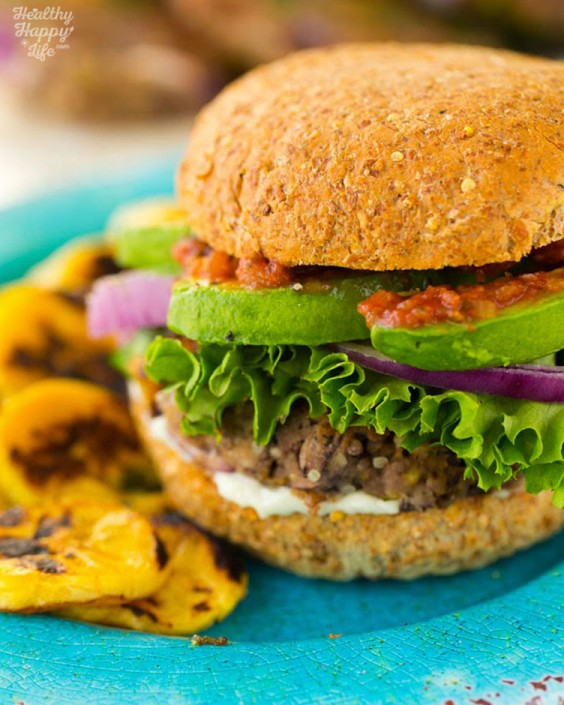 Black Bean Veggie Burgers with Avocado